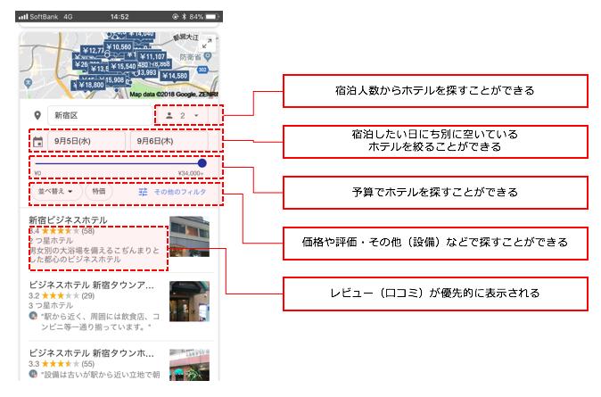 Googleホテル検索 スマートフォン