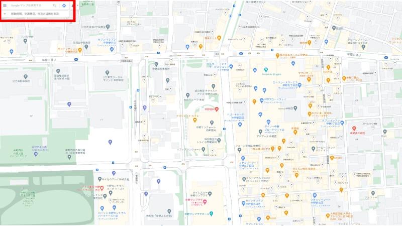 Googleマップ検索欄と地図